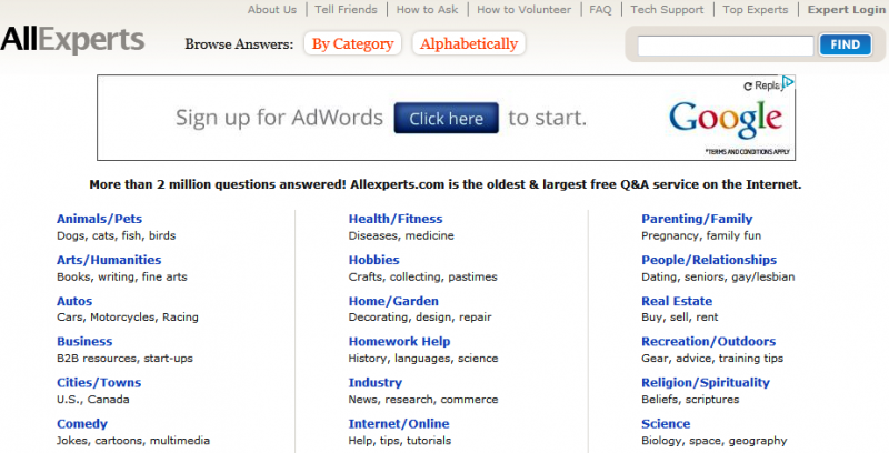 Ask Experts Free One On One >> Allexperts Com Best Place To Find Free Expert Advice Durofy