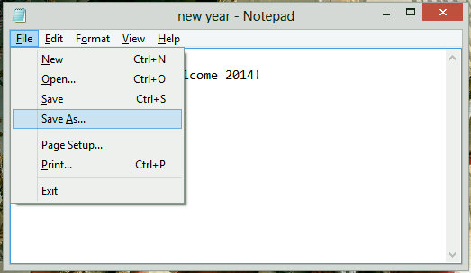 save as particular extension in notepad
